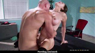 Horny Big-tit MILF fucks employee's big-dick in the office 4